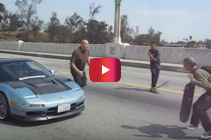 Angry Acura Driver Confronts Skaters Blocking the Road