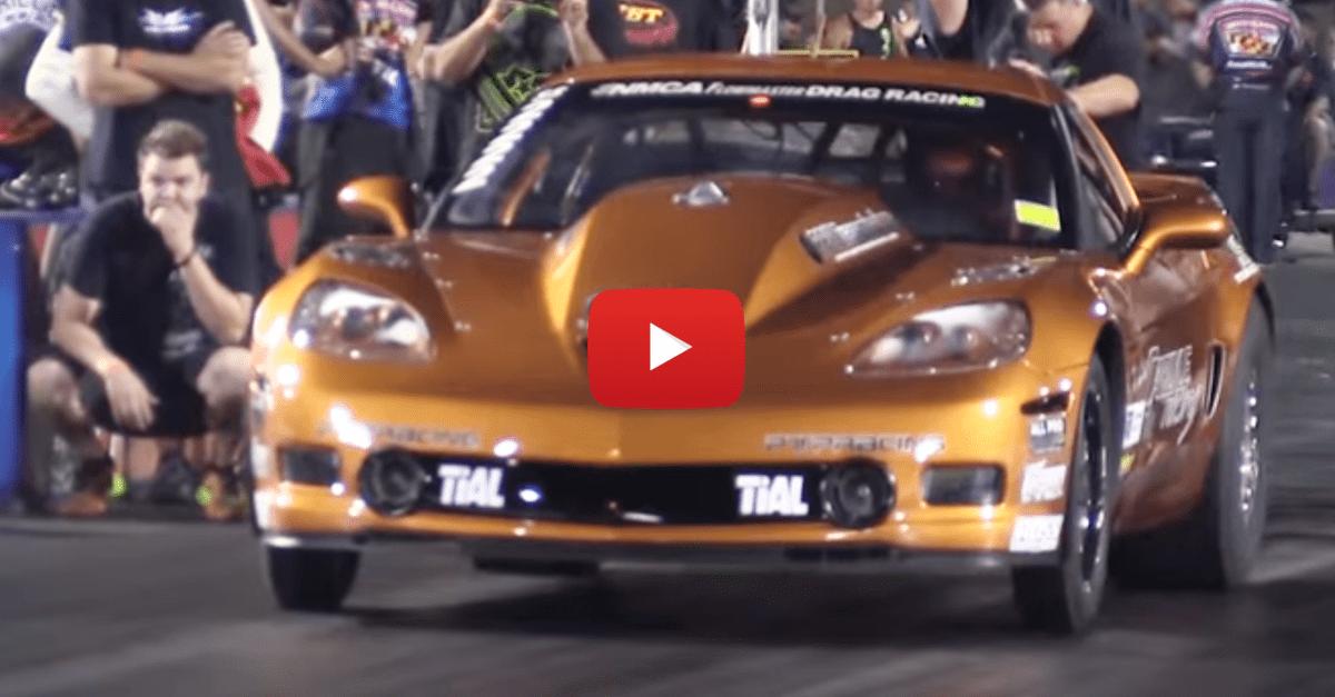 Corvette Does a Wheelie Halfway Down The Drag Strip