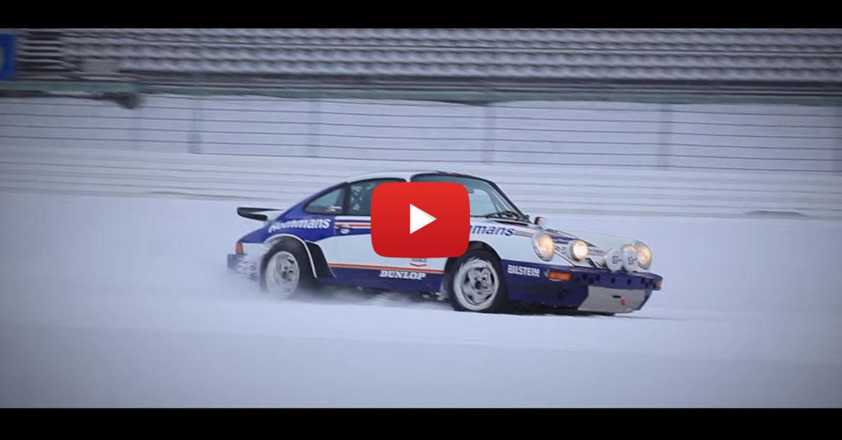 Snow Drifting A Race-Ready Porsche 911
