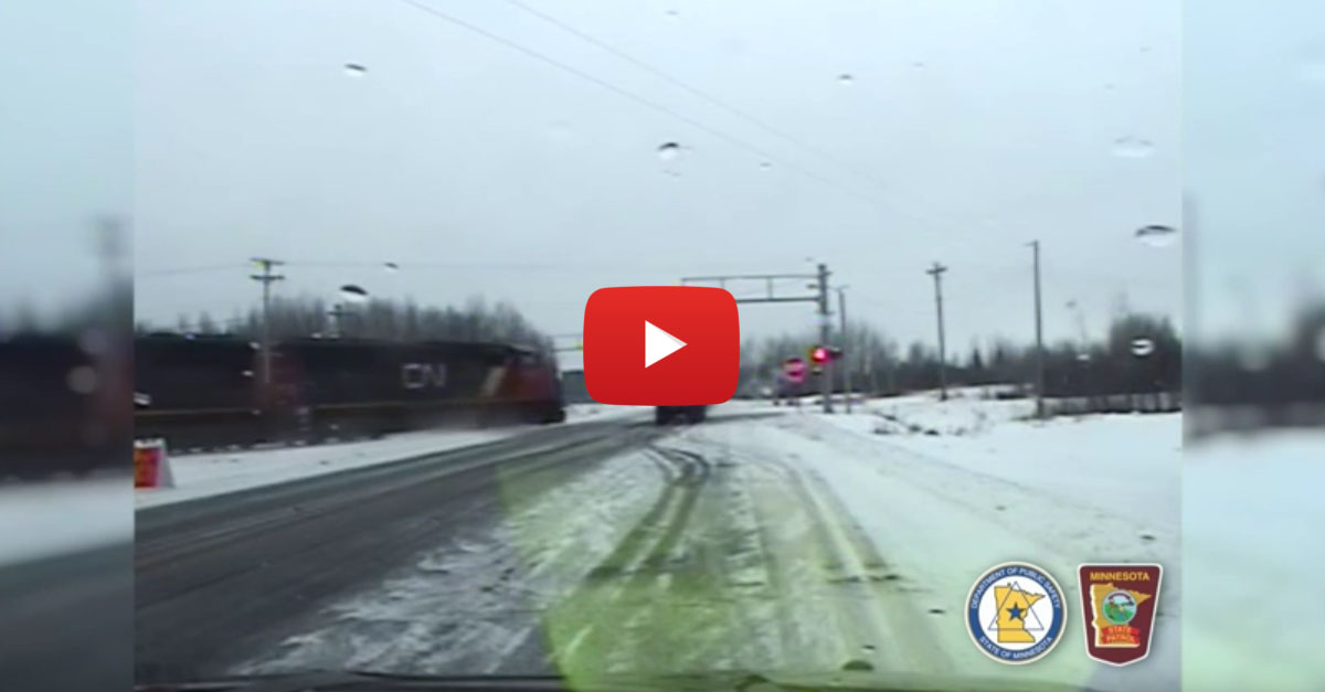 Semi Ignores Signal, Gets Obliterated By Train