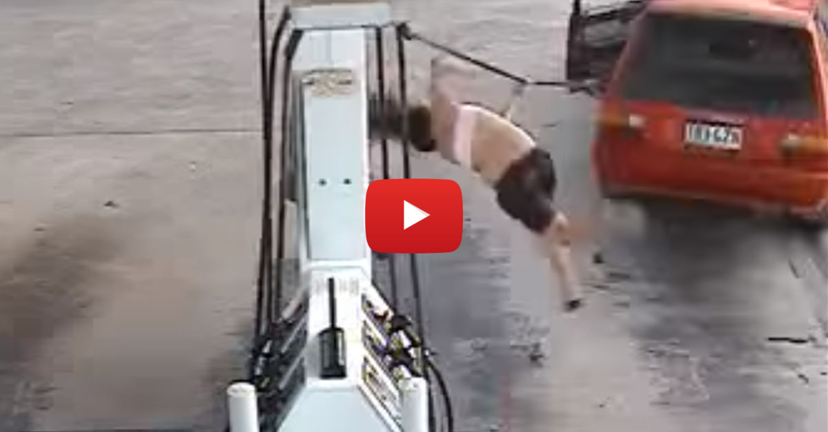 Woman Gets Tossed While Trying to Steal Gas