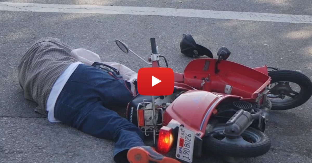 Baited Moped Theft Prank Knocks a Guy Out