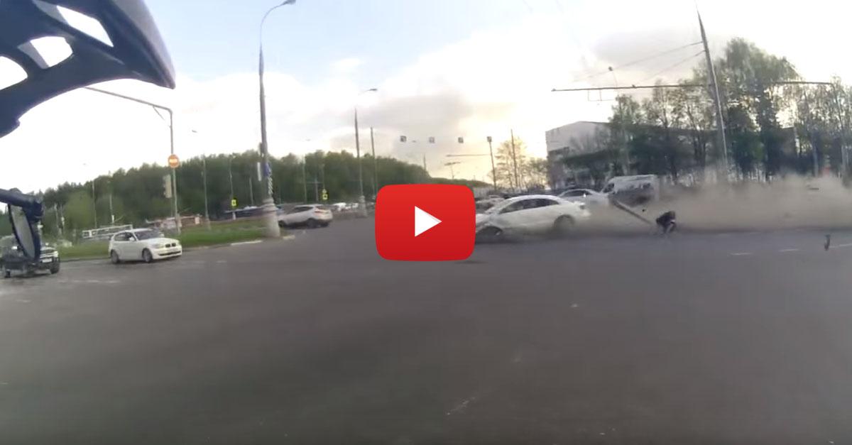 Motorcyclist's Helmet Cam Captures Insane Multi-Car Accident