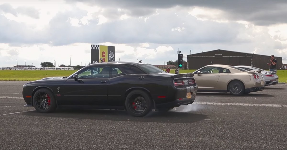 A 911 Turbo S, A Hellcat, And Godzilla Walk Into A Drag Race