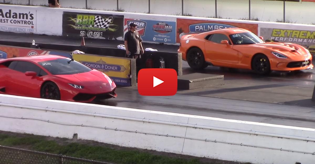 Lamborghini Huracan LP610-4 vs Dodge Viper TA Drag Racing 1/4 Mile