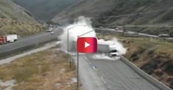 Semi Nearly Rolls over While Using Emergency Ramp