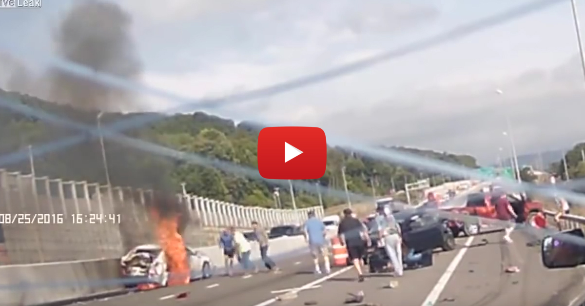 18-Wheeler Plows Through 10 Cars on the Interstate Leaving Behind Massive Wake of Destruction