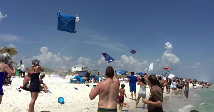 Blue Angels Flyby Sends Things Flying on Florida Beach