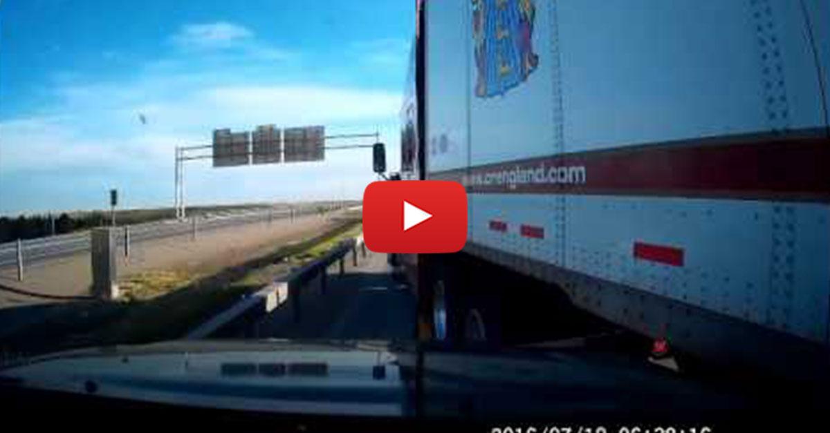 Truck Beelines For The Left Lane, Smashes Pickup, Then Flees