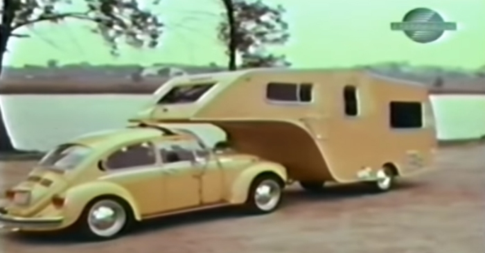 This VW Bug Fifth-Wheel Trailer Camper Is a Rare Sight
