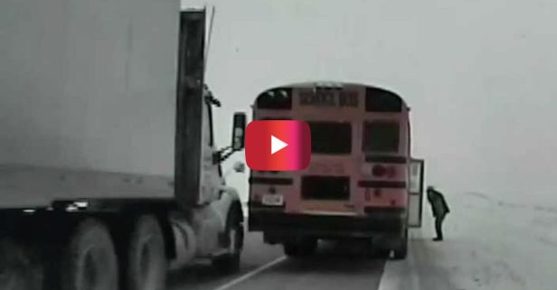 Semi Truck Clips School Bus in Scary Close Call