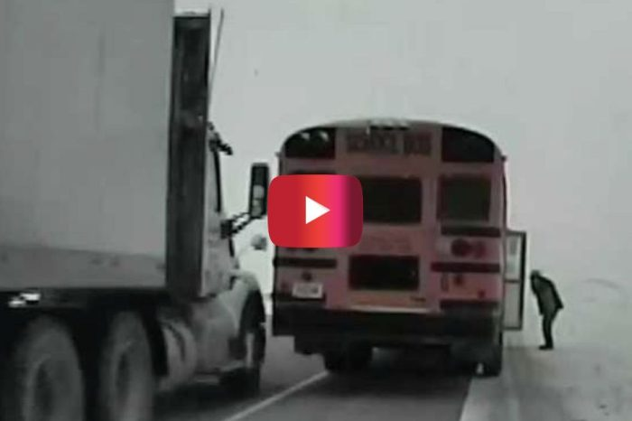 Semi Truck Clips School Bus in Scary Close Call