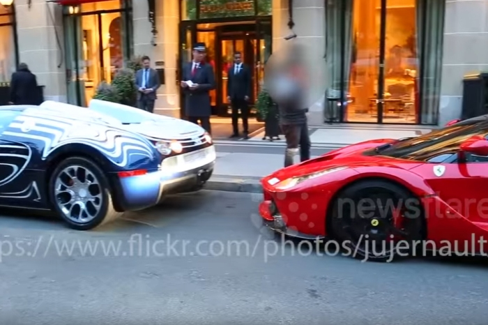 [VIDEO] Watch a $2,300,000 Bugatti Veyron L'Or Blanc Back Right Into a $1,400,000 Ferrari LaFerrari