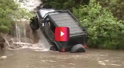 jeep up waterfall