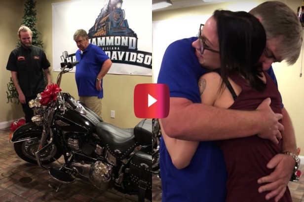 Daughter Buys Dad a Harley for Christmas, and At First He Doesn't Believe It