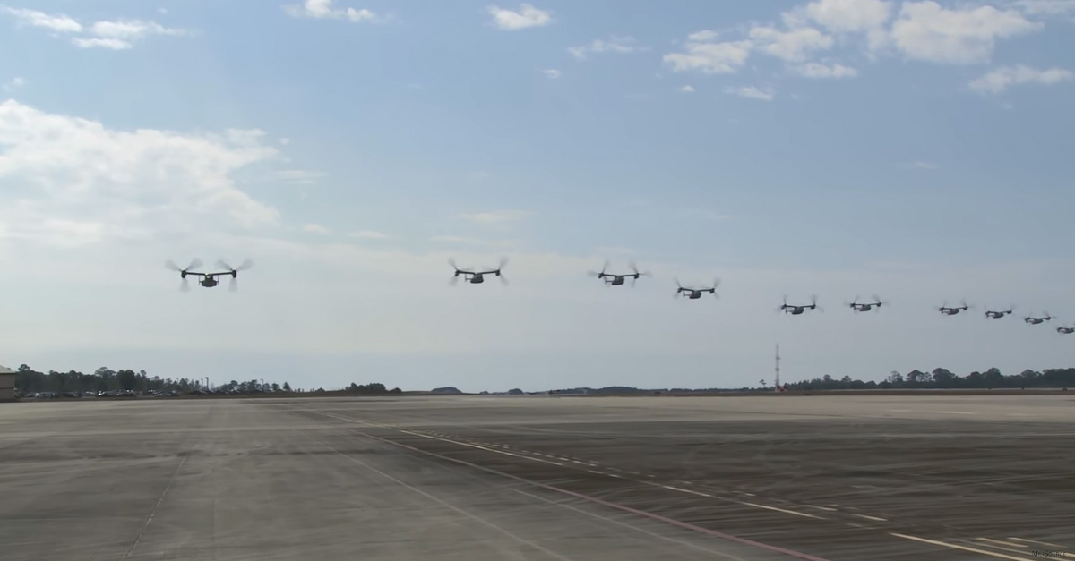 Squadron of CV-22 Ospreys sounds like a den of snakes in super-low fly by