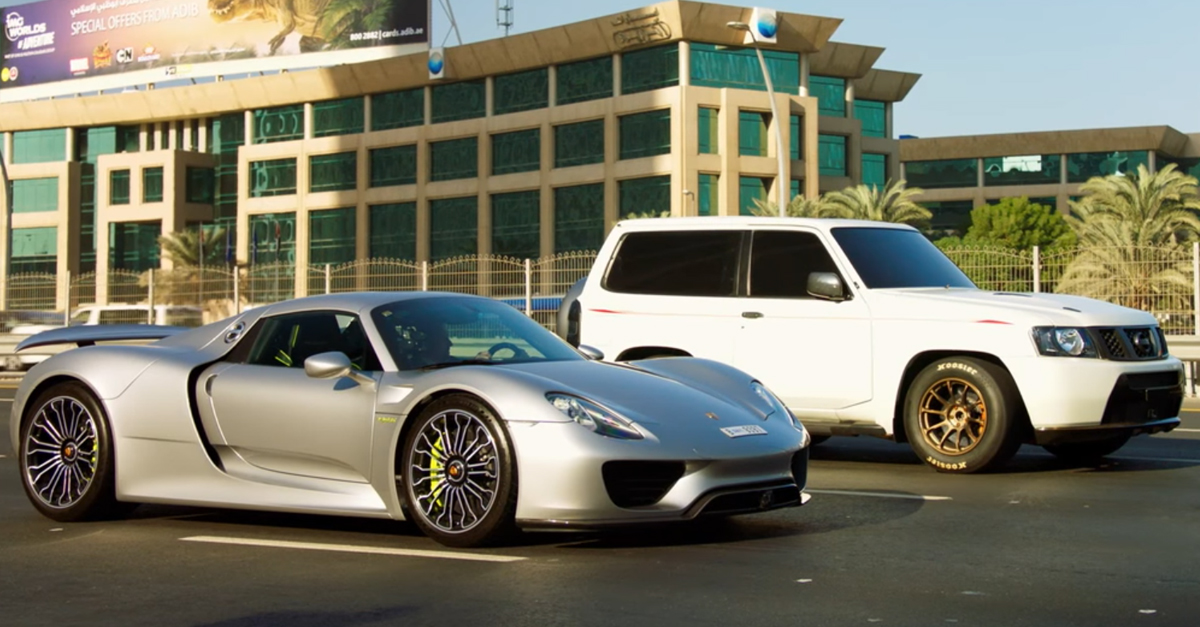 Porsche 918 gets destroyed in a drag race against a Nissan Patrol