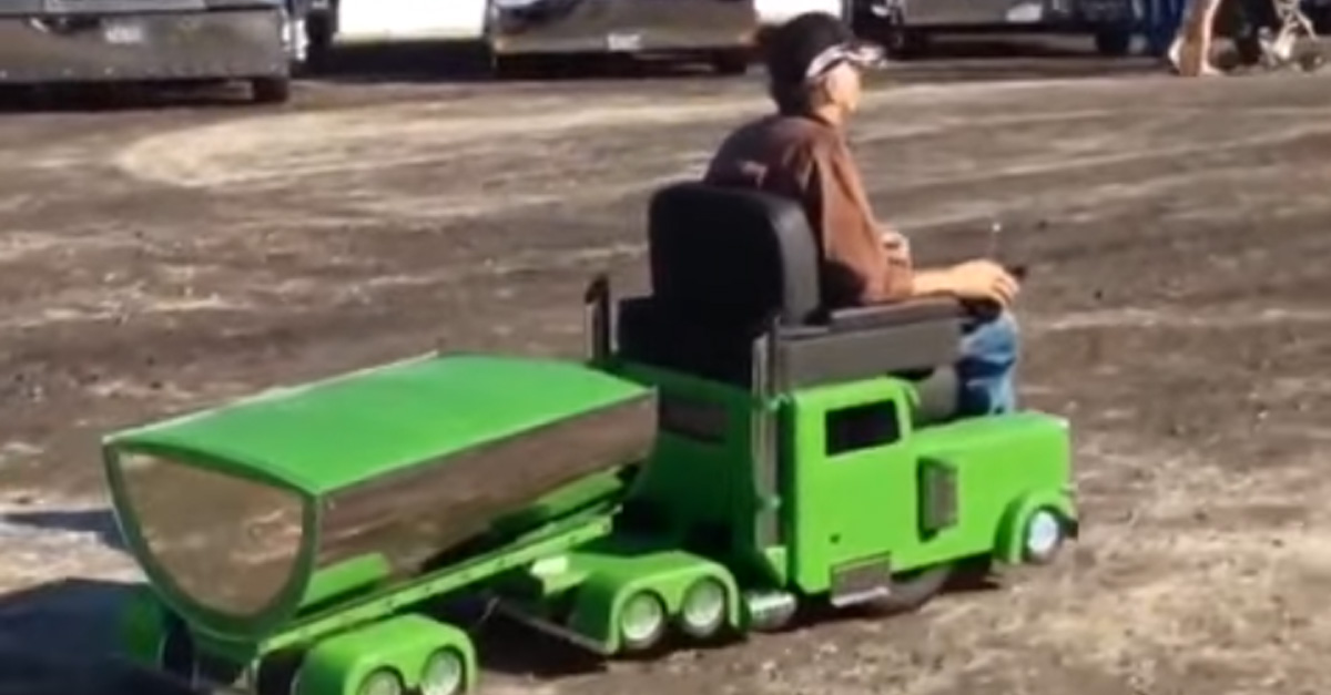Man converts his electric wheelchair into mini Peterbilt