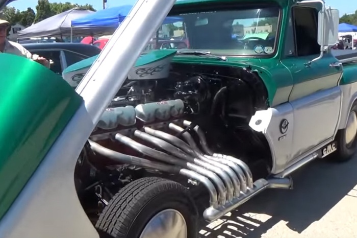 Custom 1964 GMC pickup has a giant V-12 under the hood