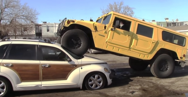Guy Buys PT Cruiser off Craigslist Just to Crush It with His Hummer