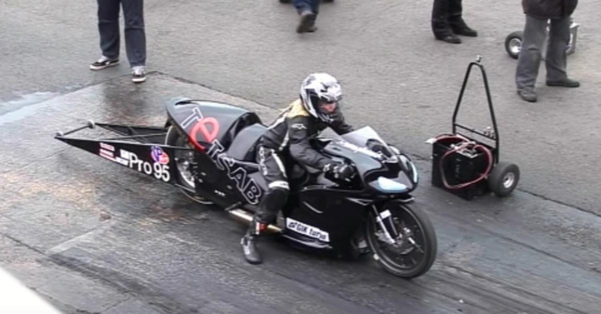 Brave 16-year-old girl races nitromethane fueled super twin drag bike