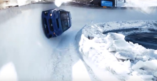 Subaru unleashed an STI down the ice of an Olympic bobsled track