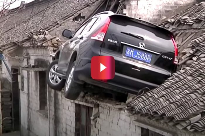 SUV Driver Crashes Into Roof After Mistaking Accelerator for Brake