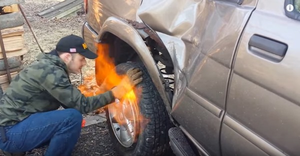 This is clearly not the way to mount a tire