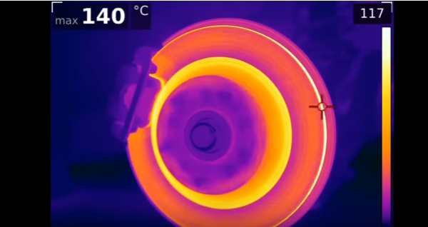 This heat test clearly shows what happens when the e-brake is engaged while moving