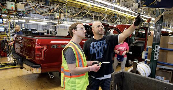 Mark Zuckerberg helped build some F-150 Pickups