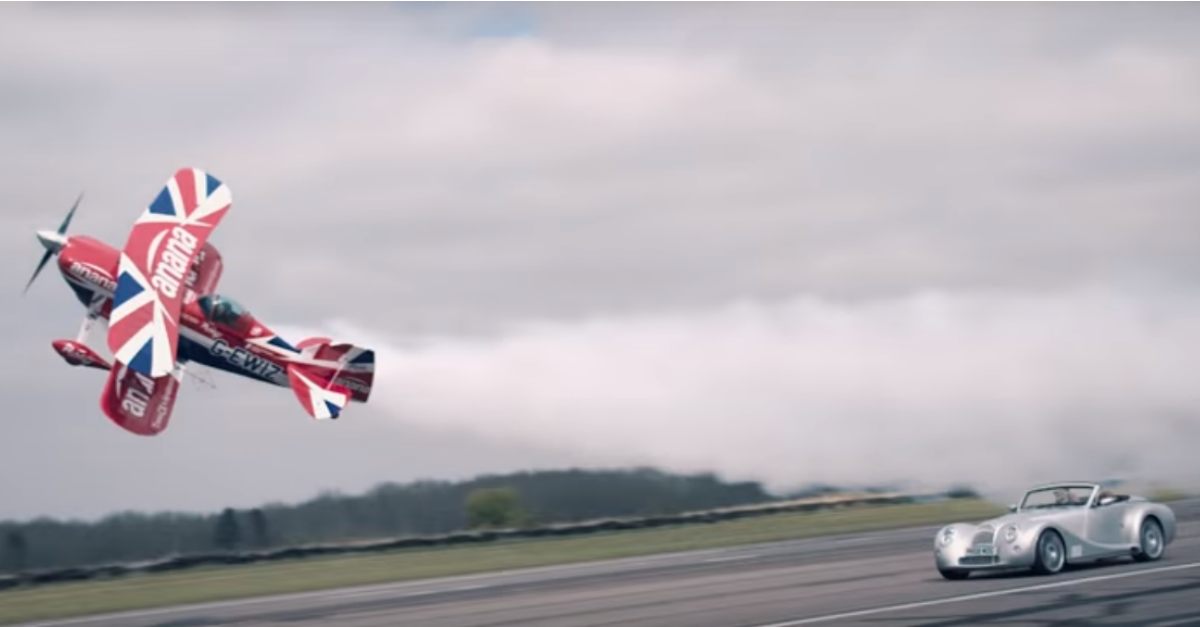 A plane-inspired car and a car-inspired plane in an awe inspiring drag race
