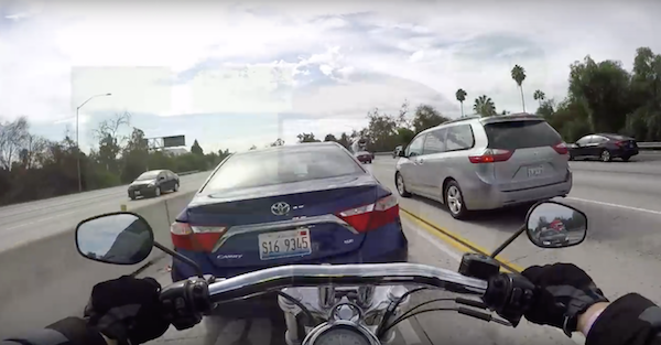 Yet another motorcyclist gets taken for a ride after rear ending a cager