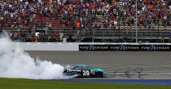 An XFINITY Series driver was penalized after his victory at Michigan
