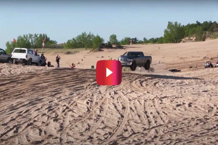 Ram 1500/Wannabe Sand Car Gets Wrecked During Dune Jump