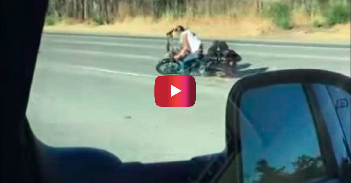 """Watch the Horrifying Moment a Motorcyclist Goes into a """"Death Wobble"""" and Crashes"""