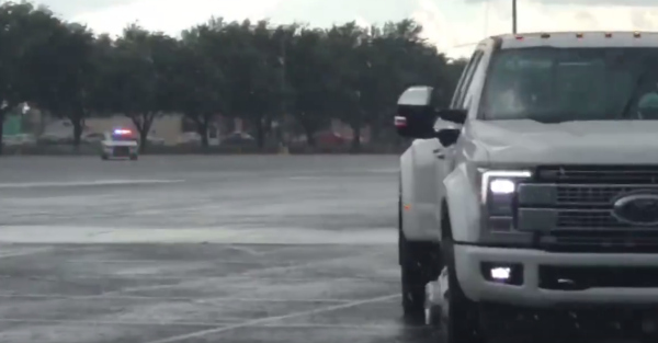 The cops converged real quick to stop the driver of this Ford F-450
