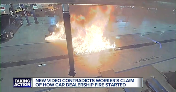 A janitor sparked a massive fire in a car dealership