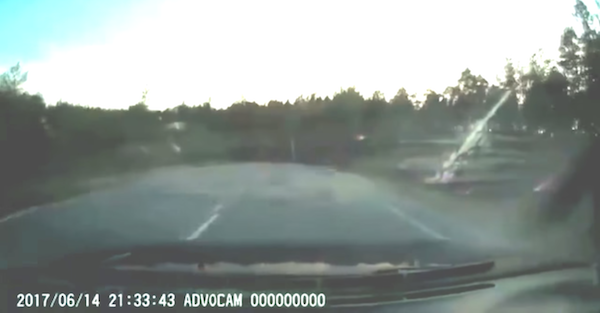 Car goes flying off the road after encountering our worst nightmare