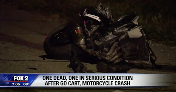 Street racing leads to a deadly crash between a go kart and a motorcycle