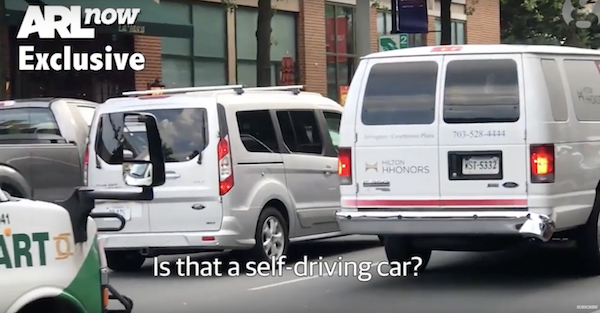 Autonomous van was actually being driven by a guy in a seat costume