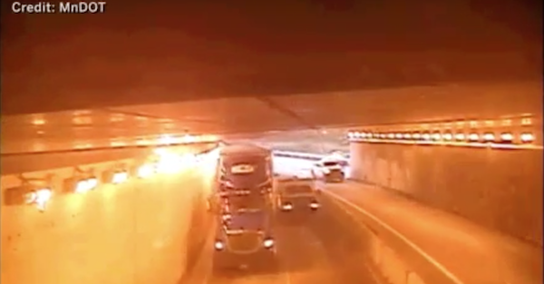 Semi truck goes on rampage through tunnel, knocks out dozen of lights