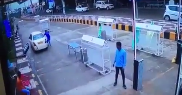 Toll worker chases car that doesn't pay, regrets it