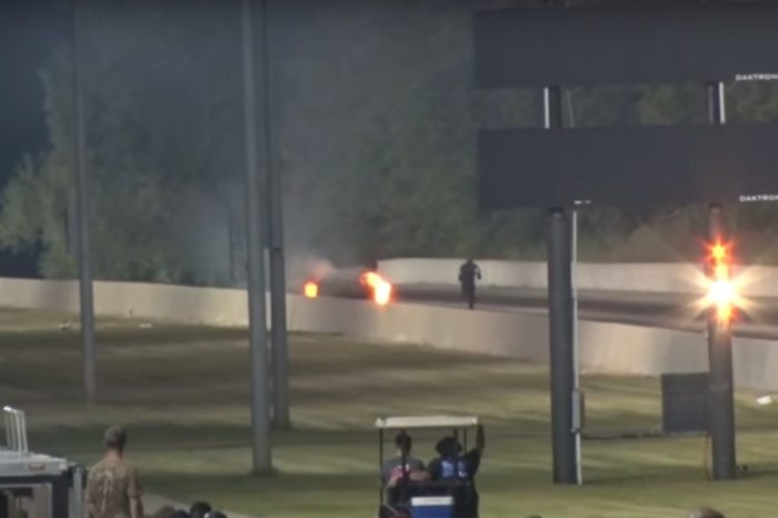 Drag Racer Jumps Out of Flaming Mustang While It's Moving