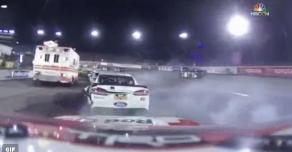 An errant ambulance caused utter chaos on the track at Richmond