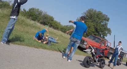 A brutal road rage scene features a man viciously beaten, a shot-gun, and now, an arrest