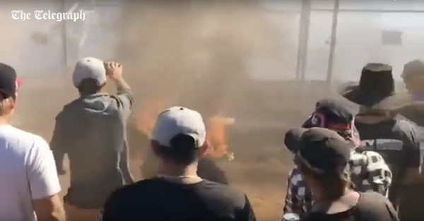 Burnout contest turns horrific when burning fuel sprays the crowd