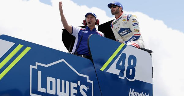 Chad Knaus has a pointed message for a very frustrated Jimme Johnson