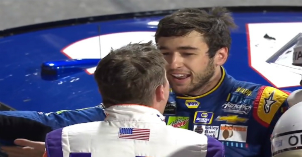 Here's the moment Chase Elliott and Denny Hamlin came face to face and had a heated discusson