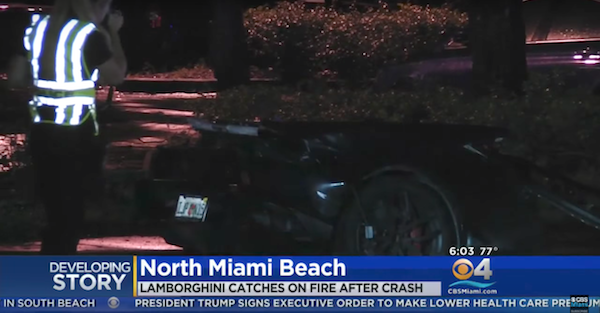 A Lamborghini split in half and caught fire in a scary crash in Miami