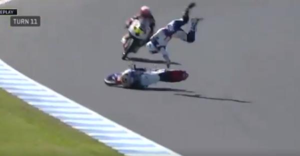 MotoGP rider flips through the air and lands hard in brutal crash